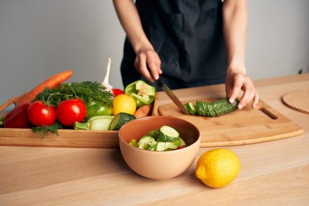 新鮮な野菜スライス食品健康食品キッチン