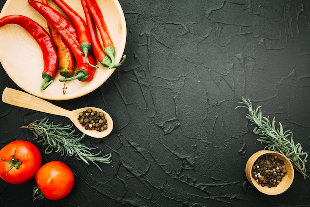 Fresh vegetables on textured background