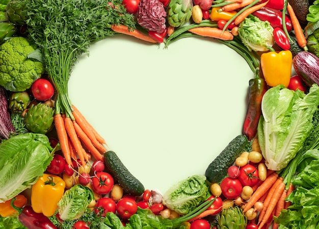 Fresh vegetables with heart shaped copy space, healthy food concept