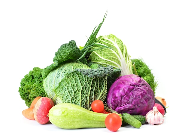 Fresh vegetables with tomatoes and cabbage