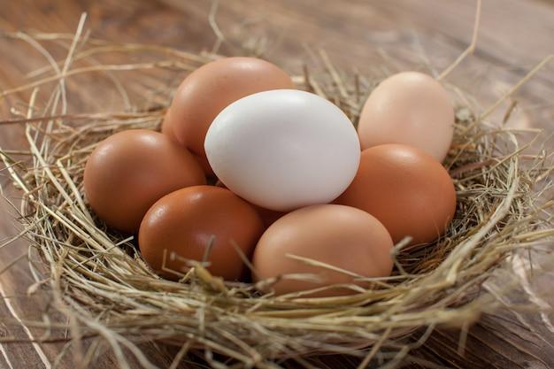 暗い背景の木に新鮮な村の鶏の卵。イースターの側近。
