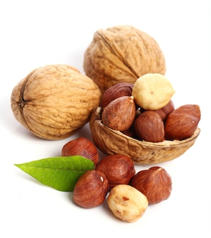 Fresh walnut with leavess and hezelnuts
