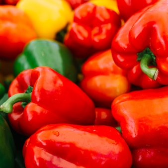 Fresh water droplets on red bell pepper