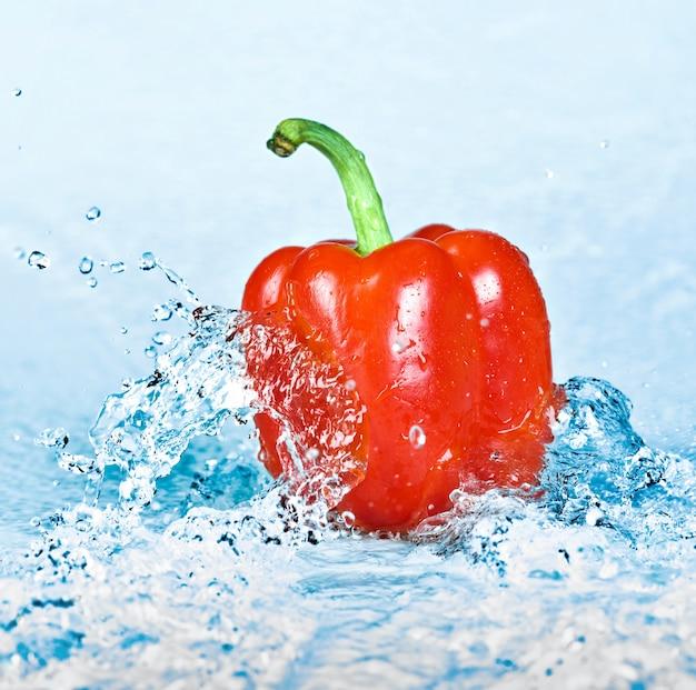 Fresh water splash on peppers