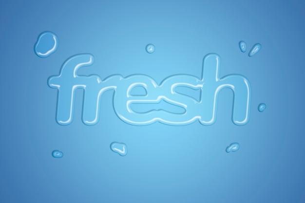 Tipografia in stile spruzzi d'acqua dolce su sfondo sfumato blu