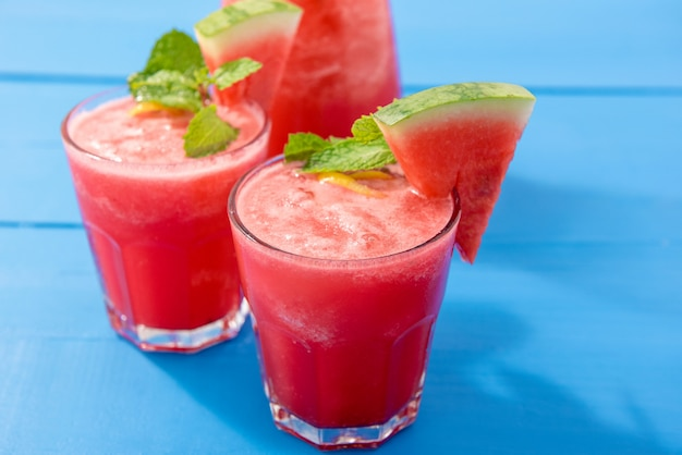 Fresh watermelon juice in the glasses