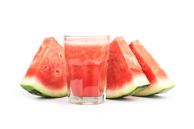 Fresh watermelon juice isolated on white background