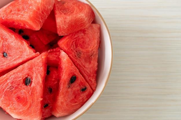 Fresh watermelon sliced  in white bowl