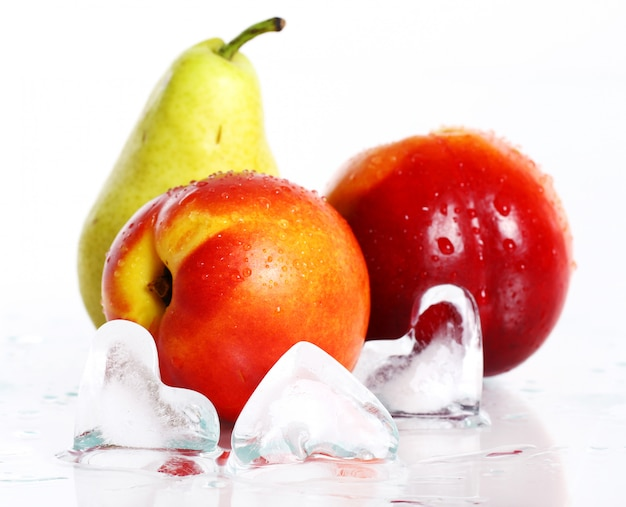 Fresh and wet fruits and ice