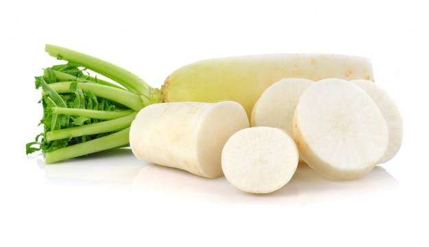 Fresh white radish with slices isolated on white