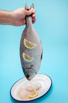 人間の手にレモンと新鮮な白い鯛