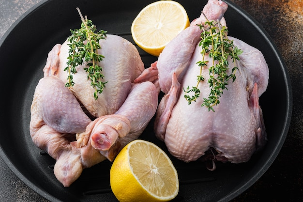 Fresh whole poult meat on grill pan