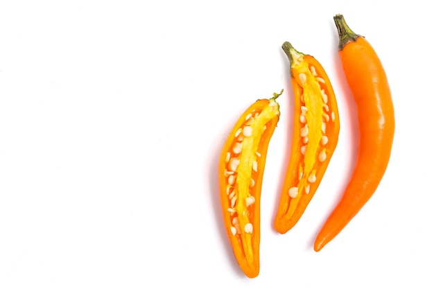 Fresh yellow chili pepper on white background.