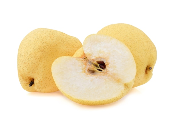 Fresh yellow chinese pears isolated on white background.