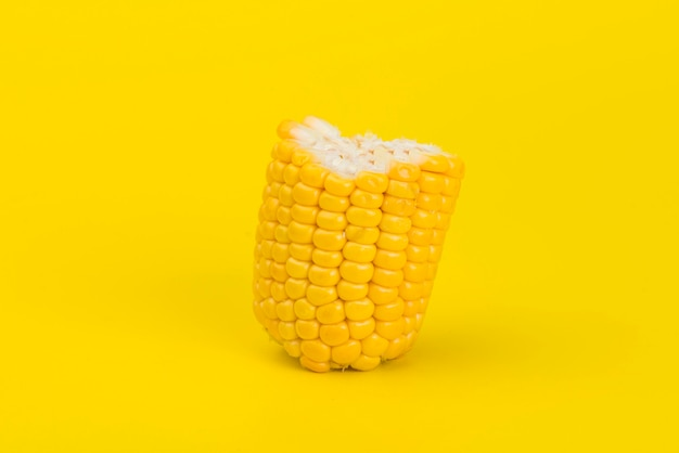 Fresh yellow corn isolated on yellow