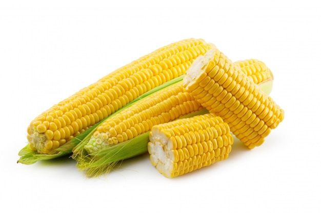Fresh yellow corncobs