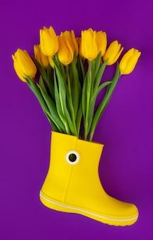 紫の黄色いレインブーツの新鮮な黄色いチューリップ