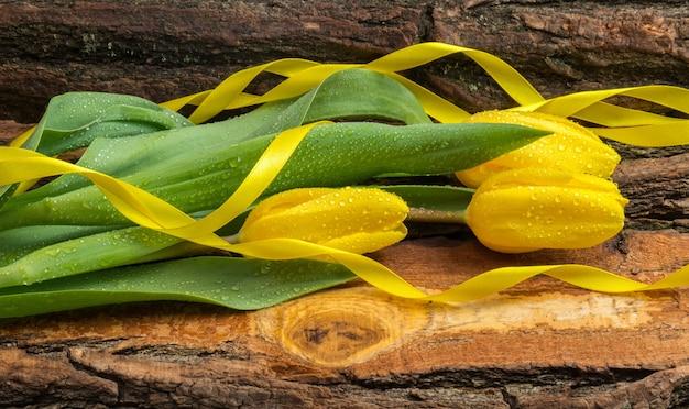 リボンと水滴が付いた新鮮な黄色のチューリップは、天然木の板です。