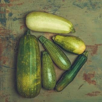 Fresh zucchini or green courgette, farm fresh produce, summer squash, overhead