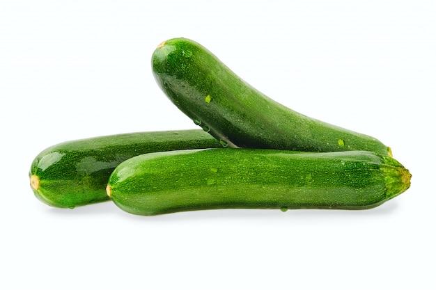Fresh zucchini isolated on white wall