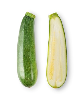 Fresh zucchini on white backgroundd. top view
