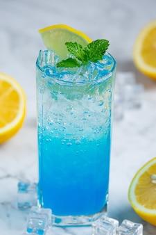 Freshen up with blue hawaiian soda.