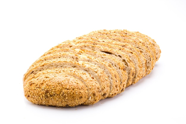 Freshly baked 7 cereals bread, whole grain food with a lot of fiber isolated on a white background