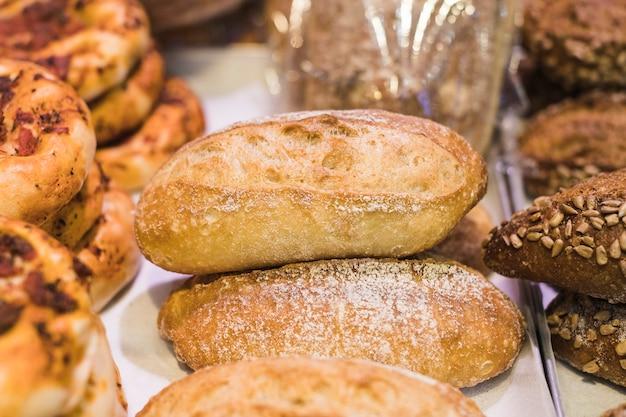 Freshly baked bread loaves