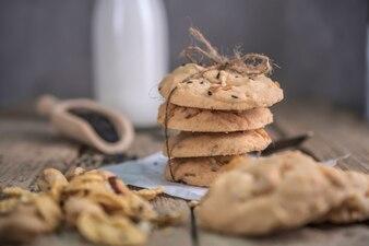 Freshly baked cookies on rustic wooden table