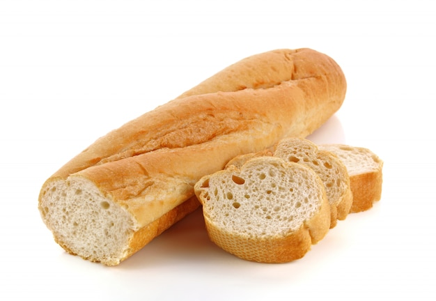 Freshly baked french bread baguettes isolated