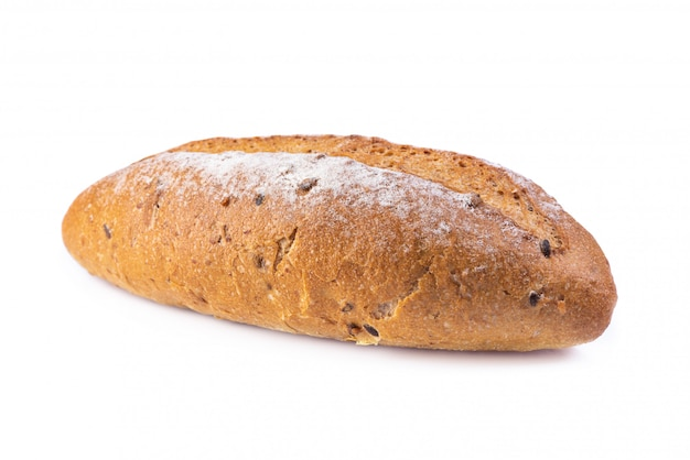 Freshly baked french bread isolated on white