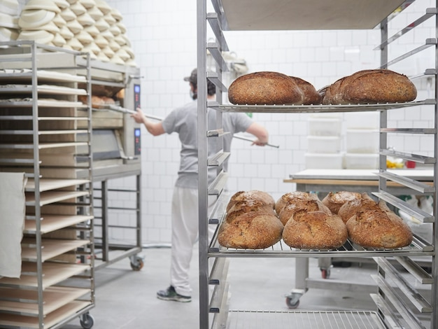 Freshly baked loaves of bread cooling on trolley tray and baker bread out of the oven