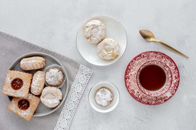 Freshly baked traditional pastry with tea