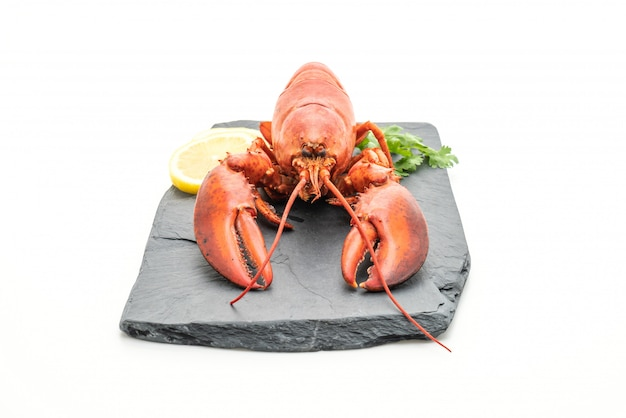 Freshly boiled lobster on slate plate