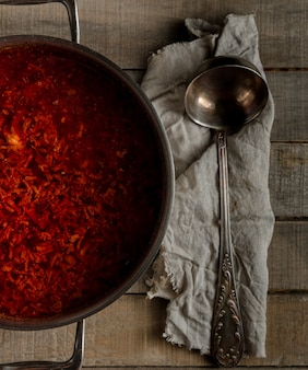 Freshly cooked traditional russian beetroot soup in a pan