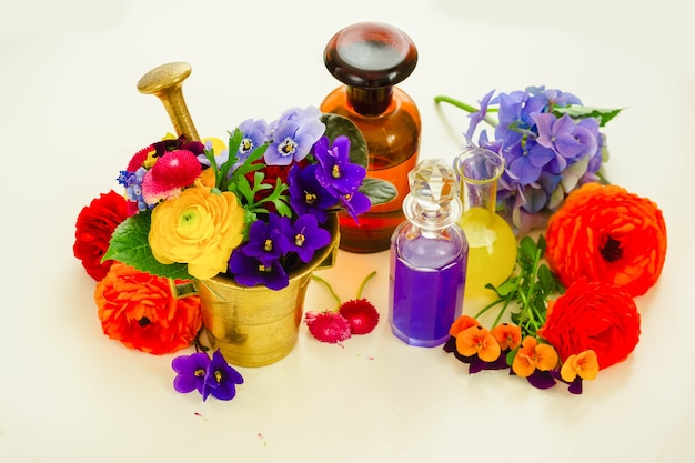 Freshly cut flowers, mortar and bottles of potions on white table, floral sciece and herbal medicine