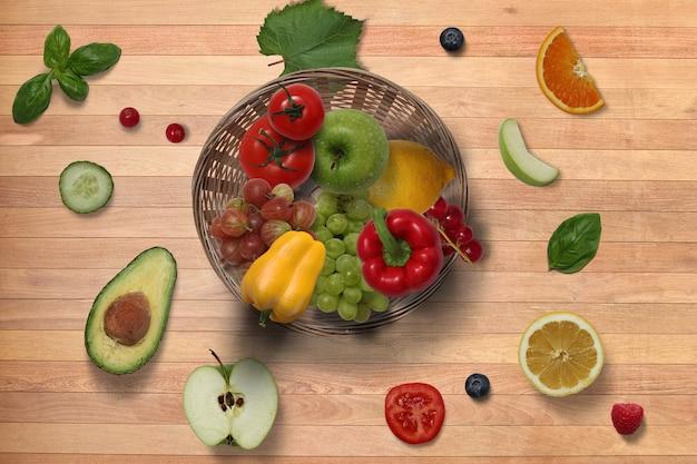 新鮮な果物とスライスの上面図