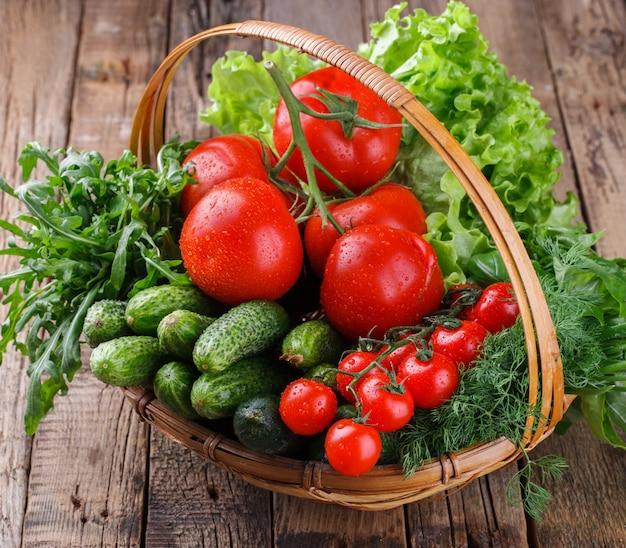 Freshly harvested organic vegetables in a basket
