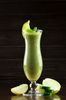 Freshly made healthy green smoothie