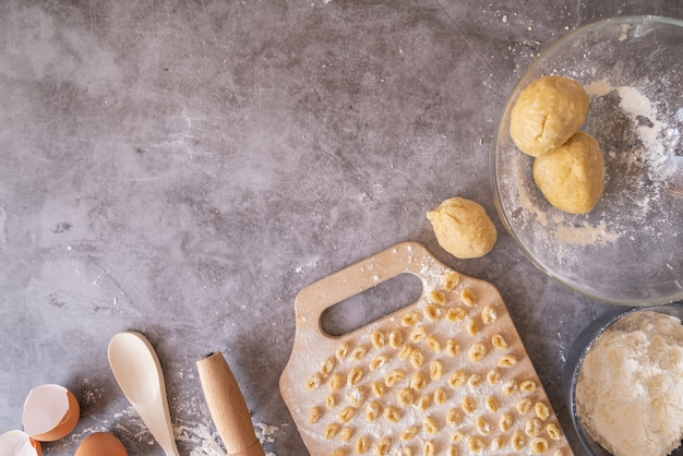 Freshly made pasta with dough frame