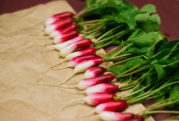 しわくちゃのクラフト紙に採れたての大根が一列に並んでいます。野菜を育て、収穫します。