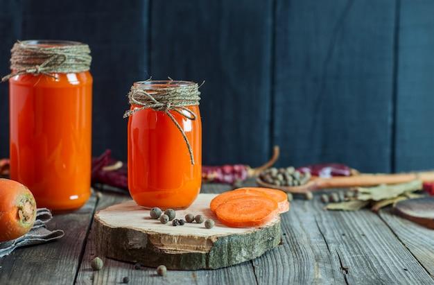 Freshly prepared homemade carrot juice