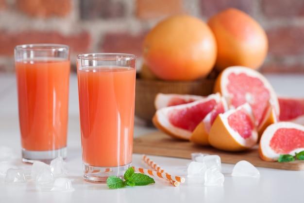 Freshly pressed grapefruit juice.