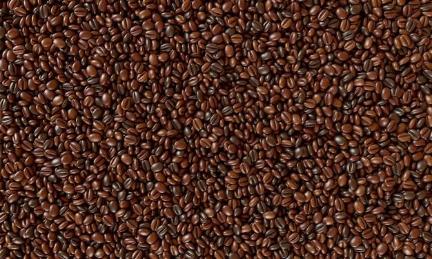 갓 볶은 커피 콩 배경. 3d 렌더링 그림.
