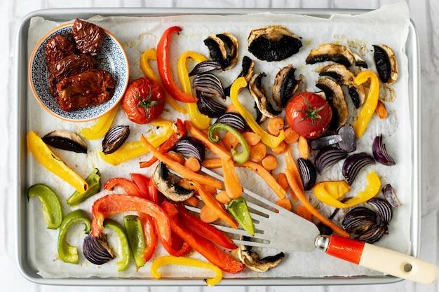 Freshly roasted vegetables food photography