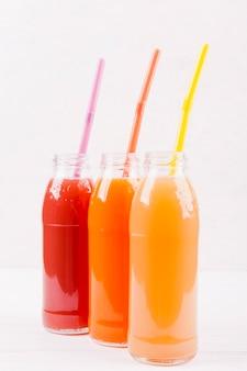 Freshly squeezed juices in bottles