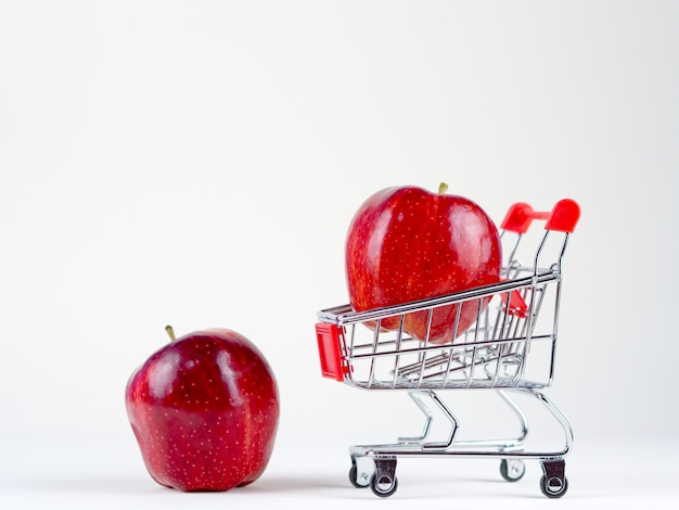 Freshness apple shopping concept on the white background