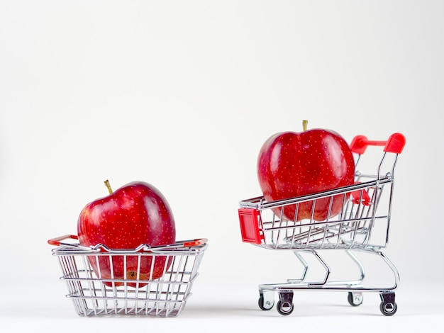 Freshness apple shopping concept on the white background