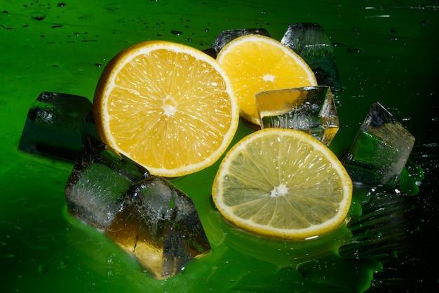 Freshness lemon and cristal cube of ice