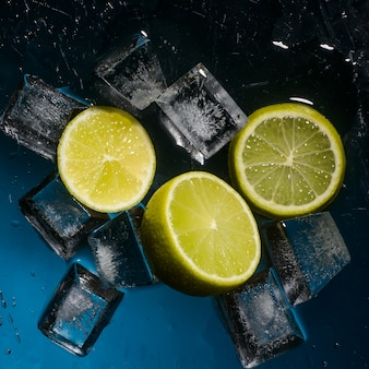 Freshness lime and cristal cube of ice